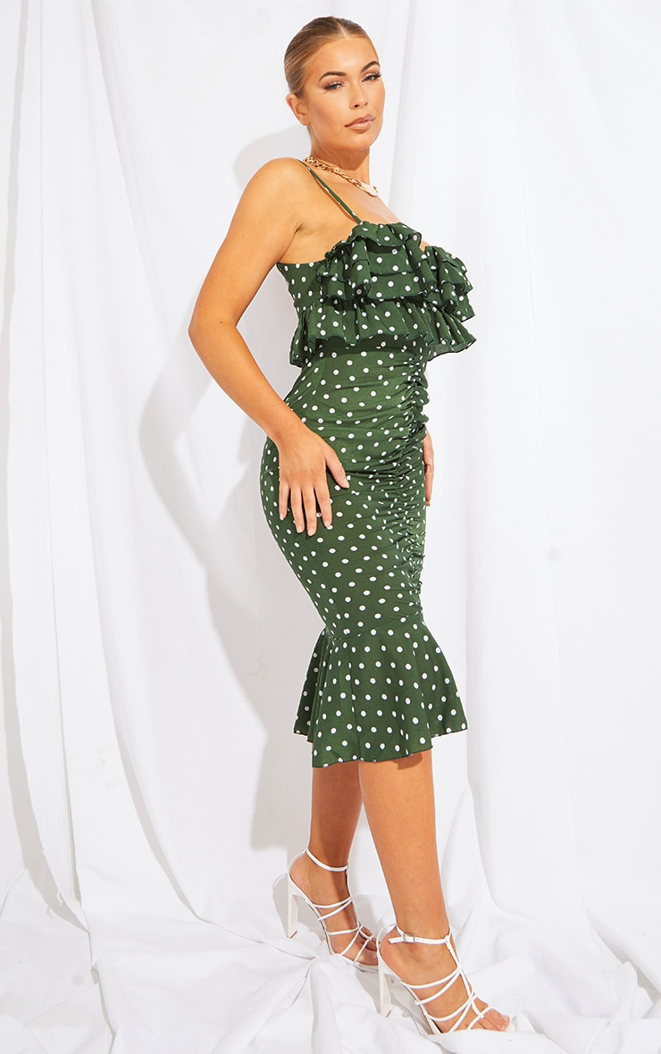Emerald Green Polka Dot Ruffle Detail Gathered Front Midi Dress 3