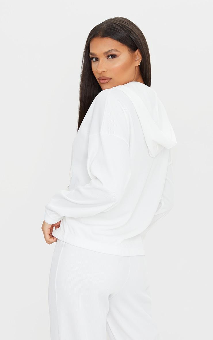 Cream Heavy Rib Zip Through Hooded Jacket 2