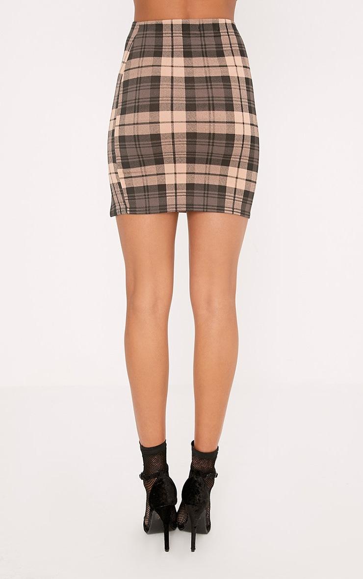 Alcee Nude Check Side Split Mini Skirt 4