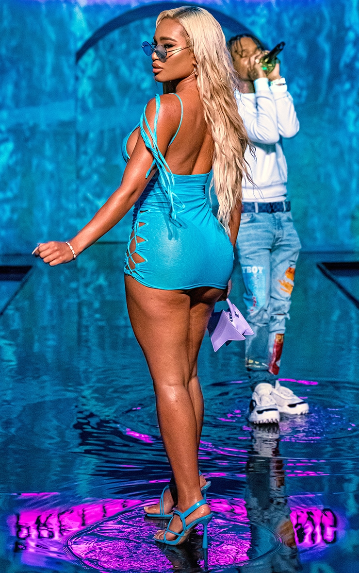 Blue Lace Up Shoulder Tie Beach Dress 2