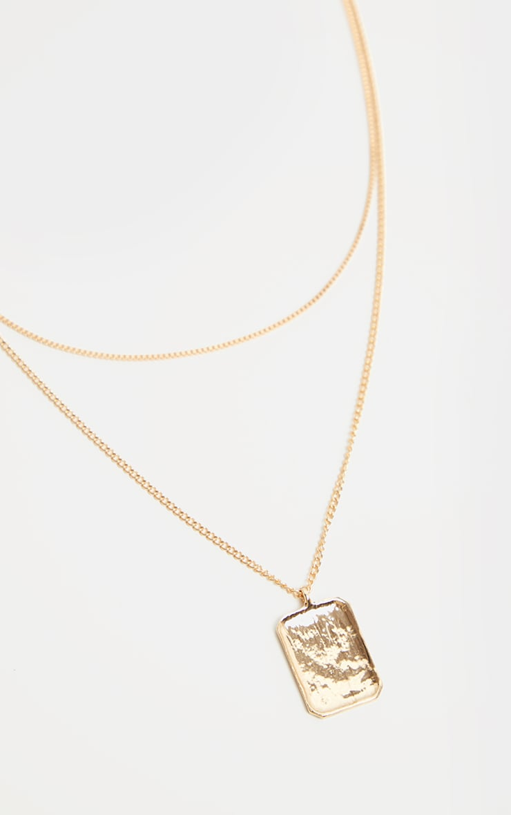 Gold Double Layer Dog Tag Necklace                     3
