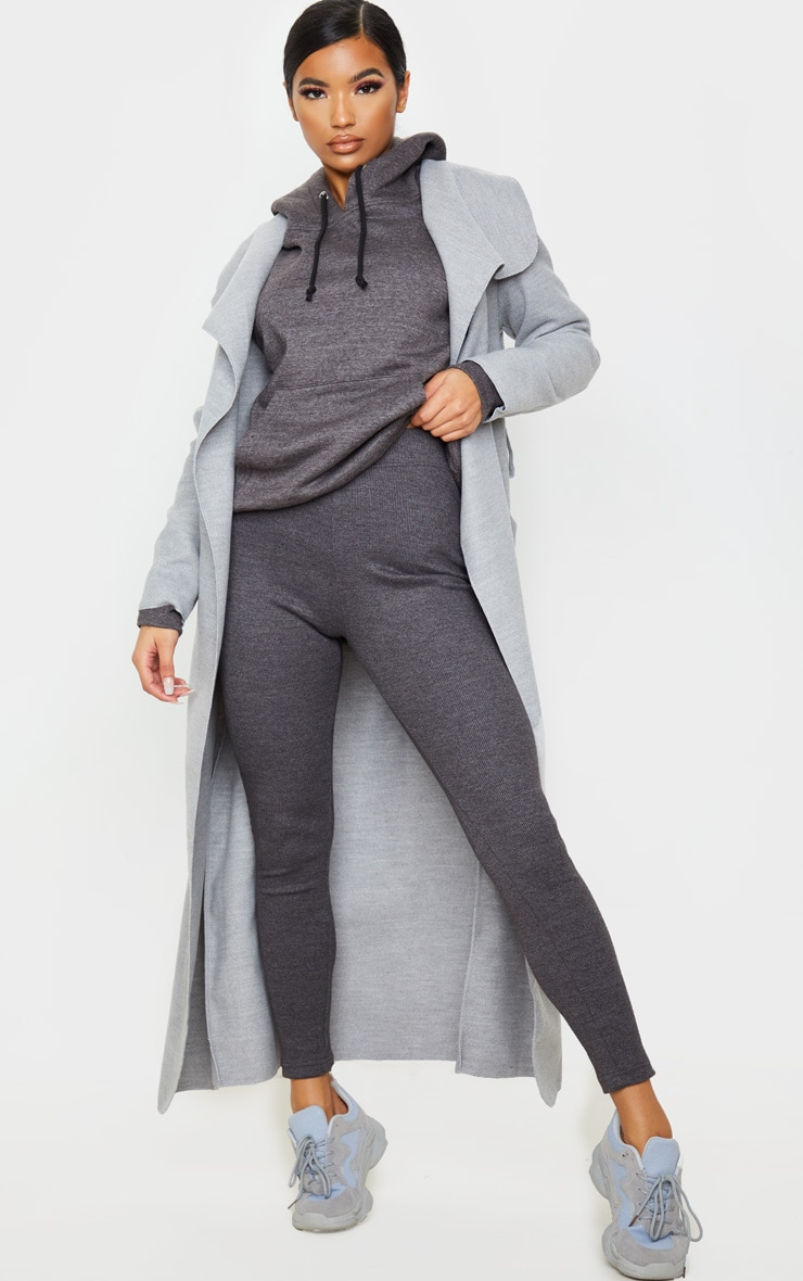 Charcoal Structured Ribbed Leggings 1