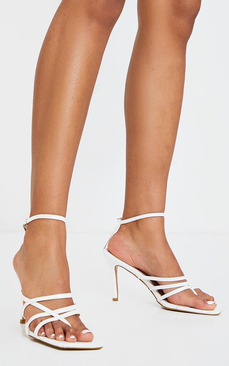 White Multi Strap Square Toe Thong Heeled Sandals 1