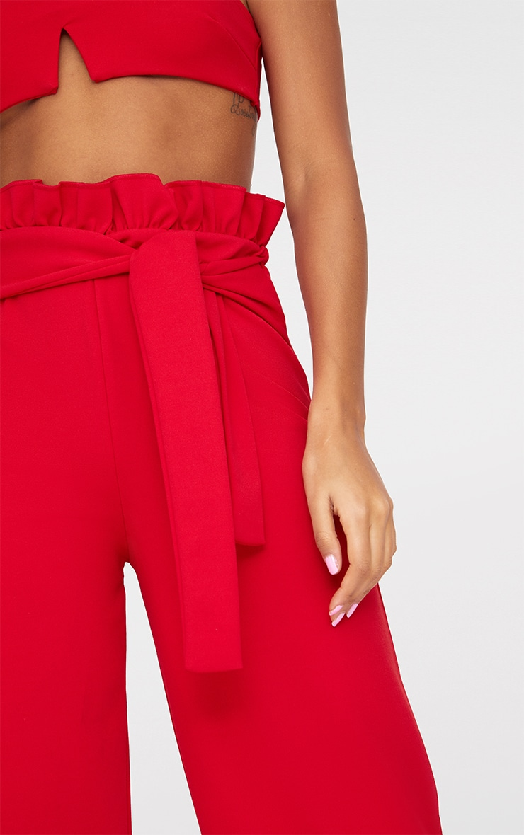 Red Crepe Paperbag Wide Leg Trousers 4
