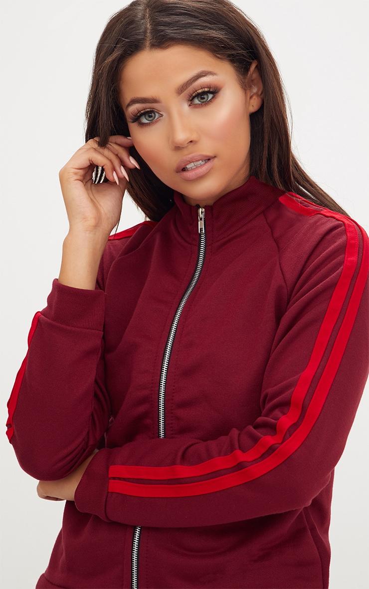 Burgundy Contrast Stripe Runner Jacket  5