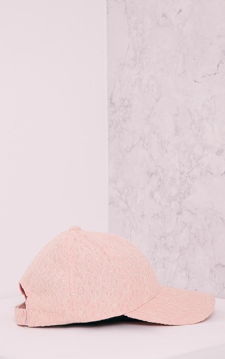 Kalisha Baby Pink Lace Detail Baseball Cap 4