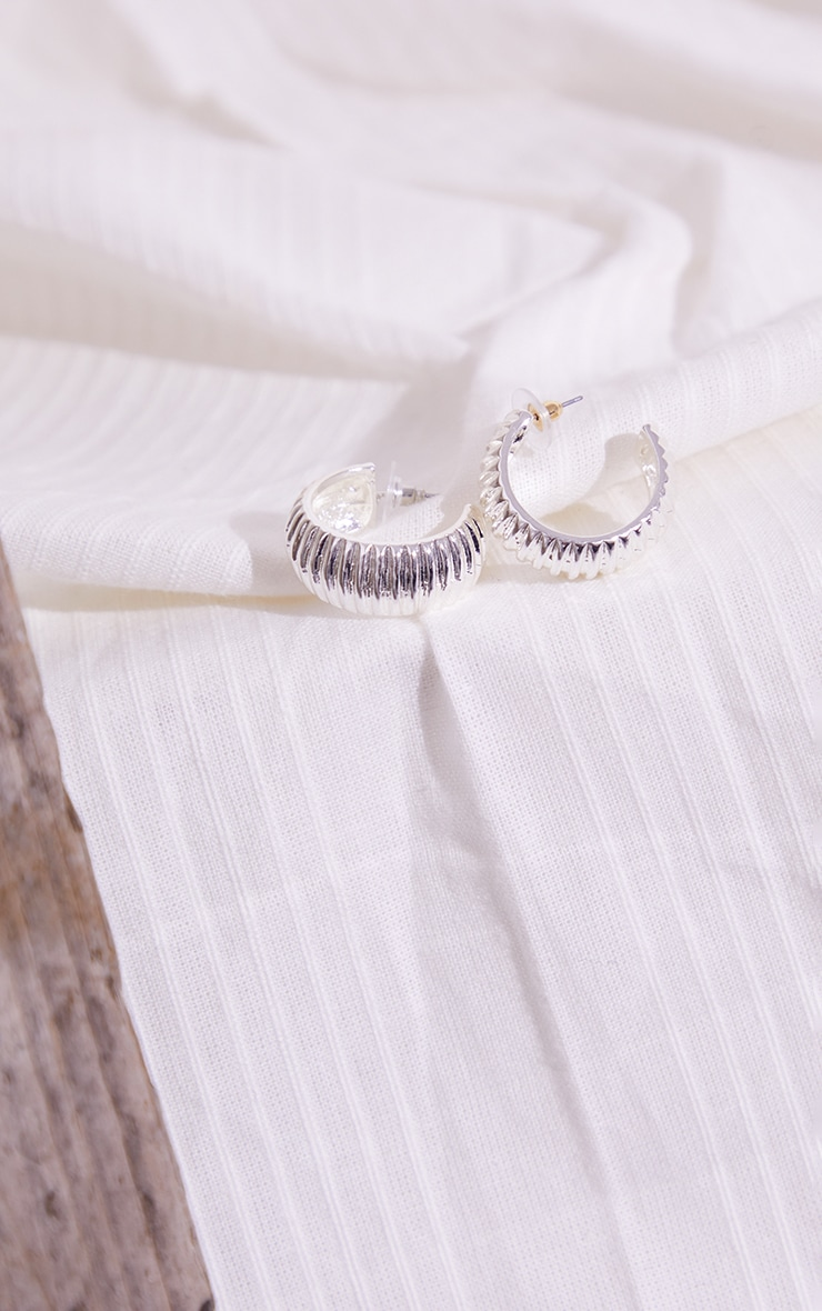 Silver Thick Ribbed Hoop Earrings 1