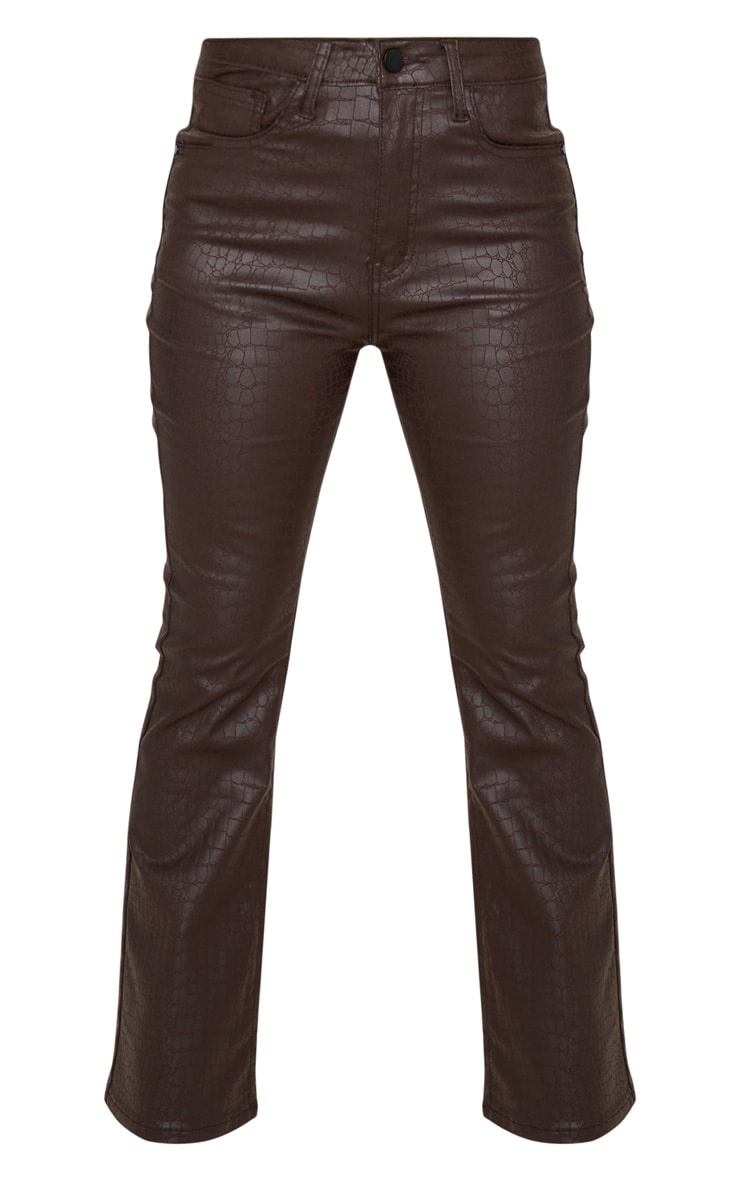 Petite Chocolate Brown Coated Denim Croc Flared Jean 3