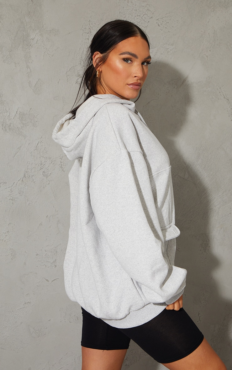 PRETTYLITTLETHING Grey Badge Double Pocket Hoodie 2