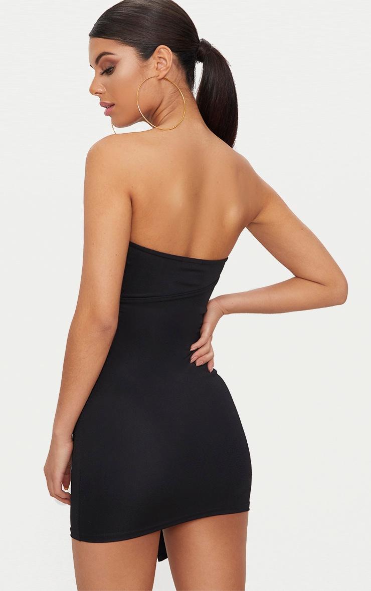 Black V Bar Bandeau Wrap Bodycon Dress 2