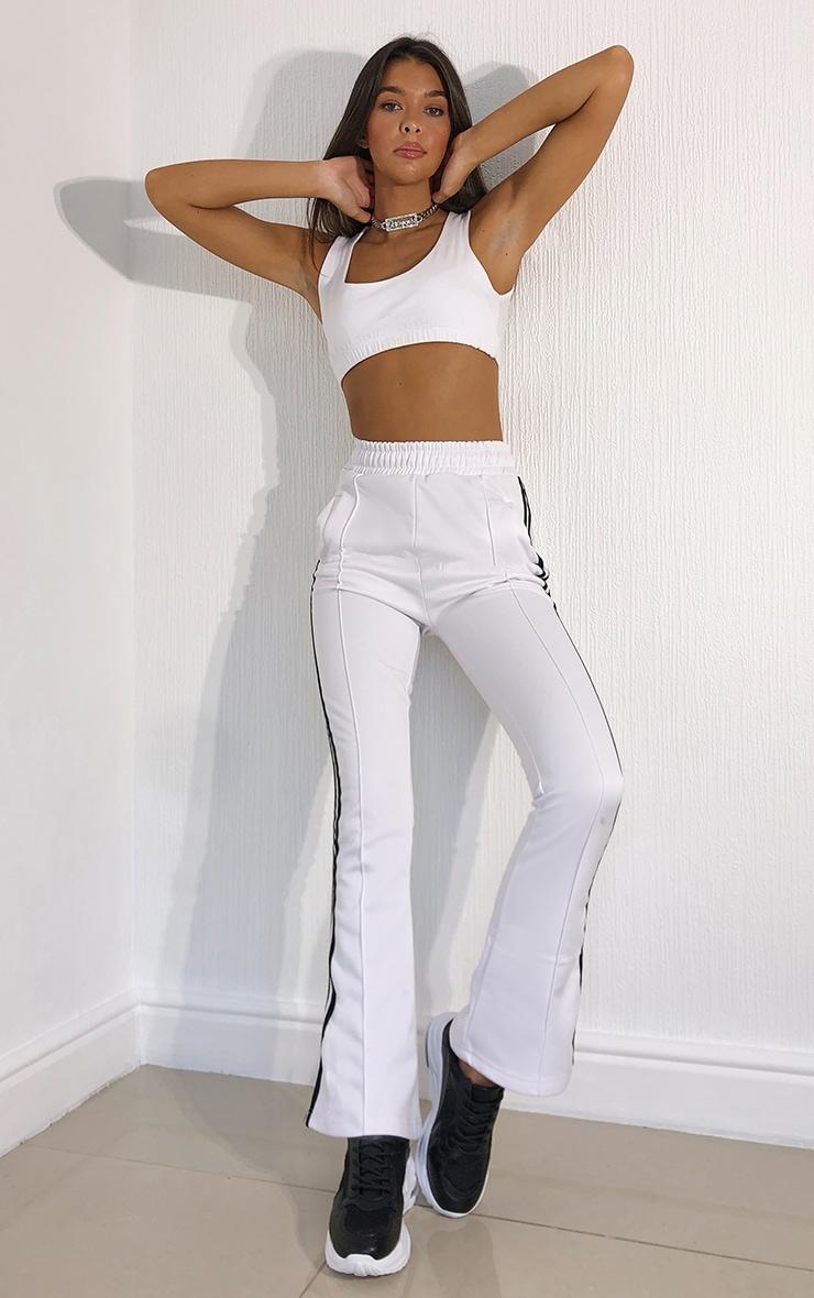 White Side Stripe Flare Leg Track Pants 4