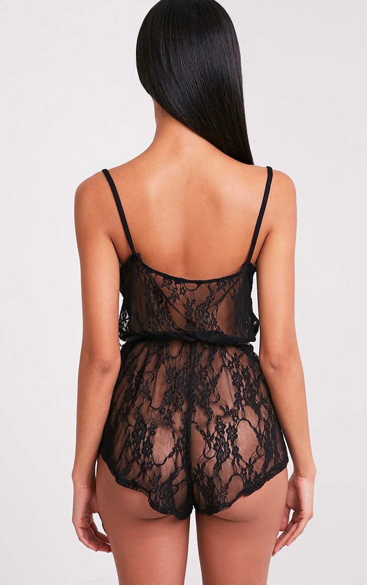 Sanny Black Lace Teddy Nightsuit 2