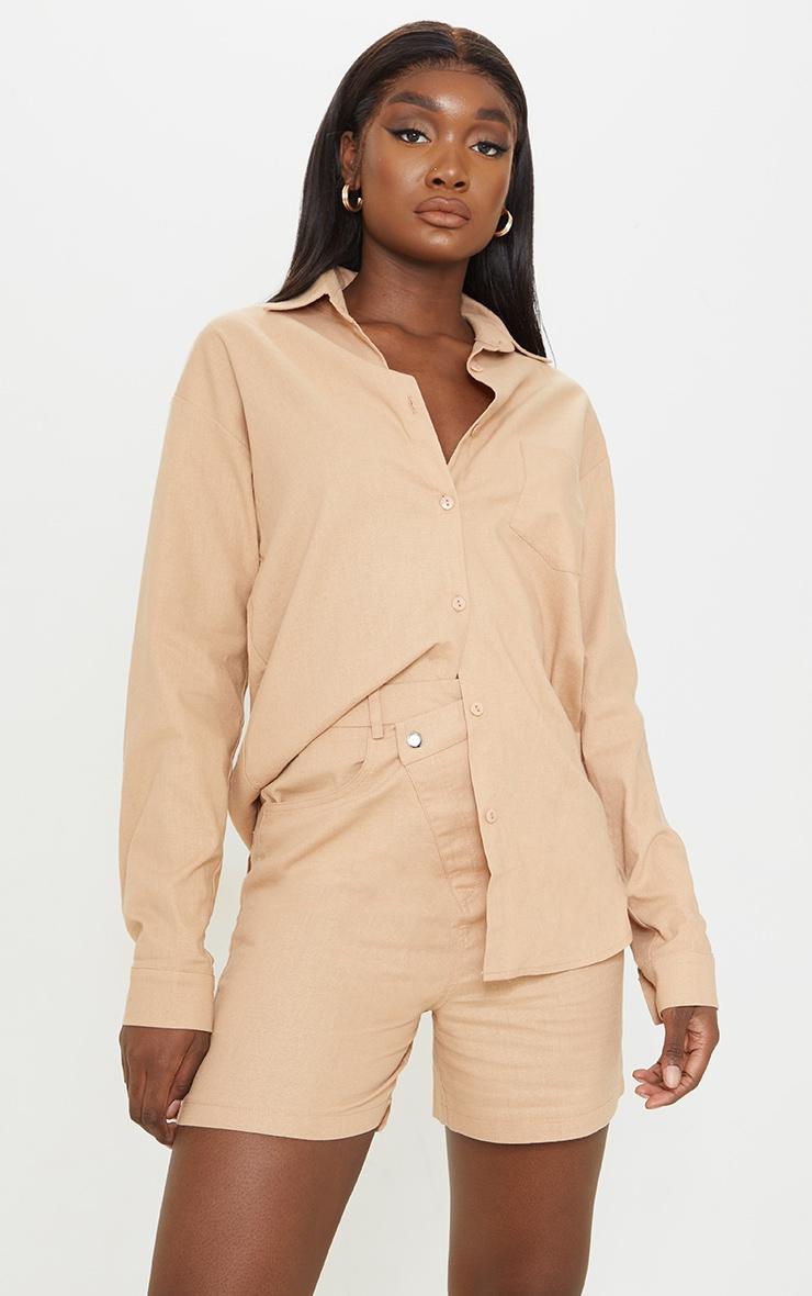 Tall Stone Linen Look Asymmetric Shorts 4