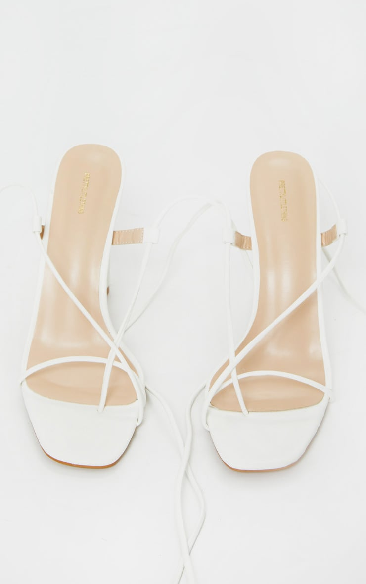 White Cylinder Strappy Toe Thong Heeled Sandals 4