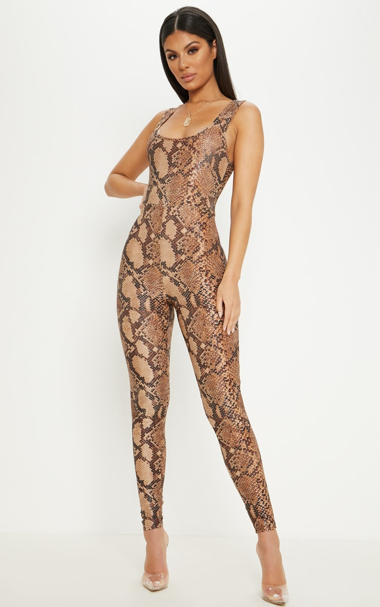 Brown Snake Print Glitter Square Neck Jumpsuit 1