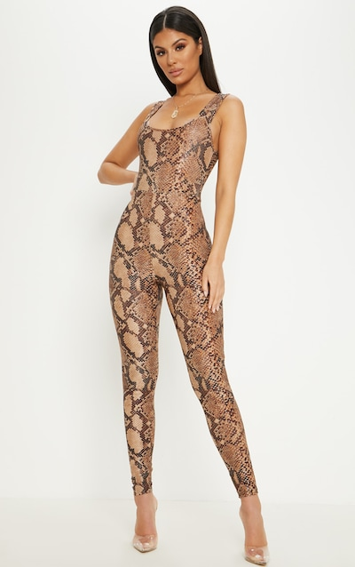 be65457de7ae Brown Snake Print Glitter Square Neck Jumpsuit