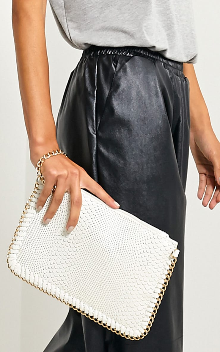 Milly White Snake Print Chain Clutch 1