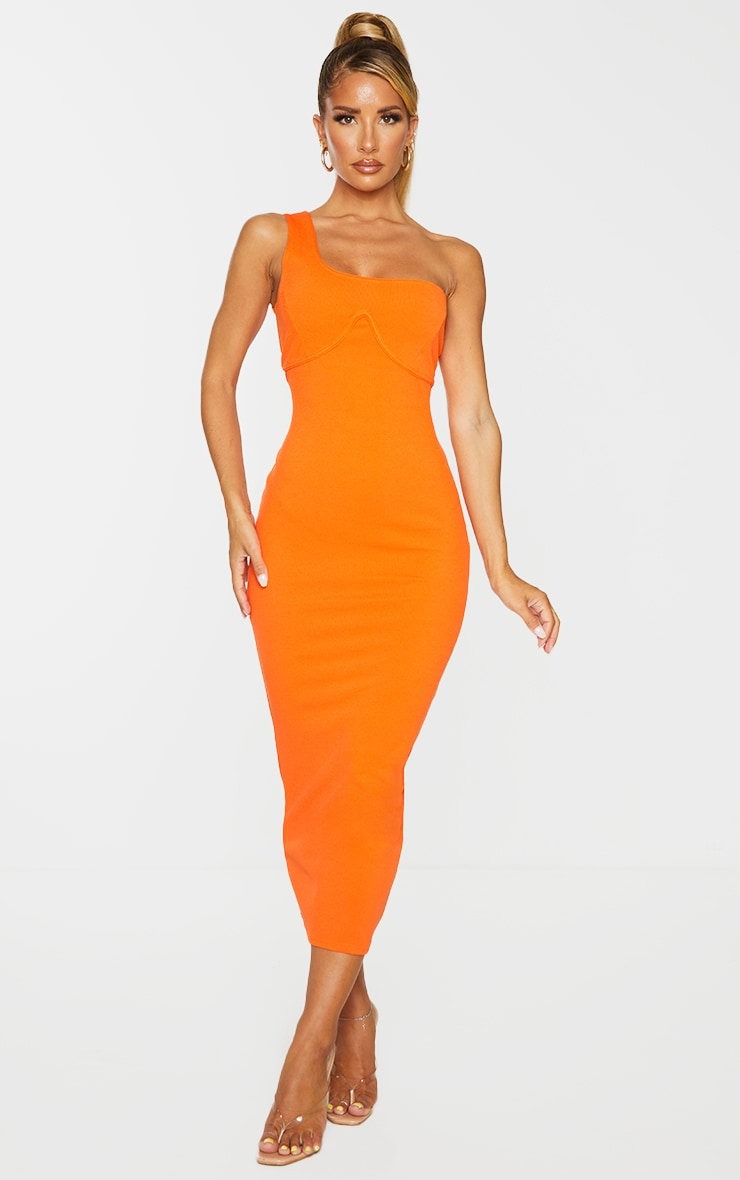 Orange Ribbed One Shoulder Underbust Detail Midaxi Dress 4