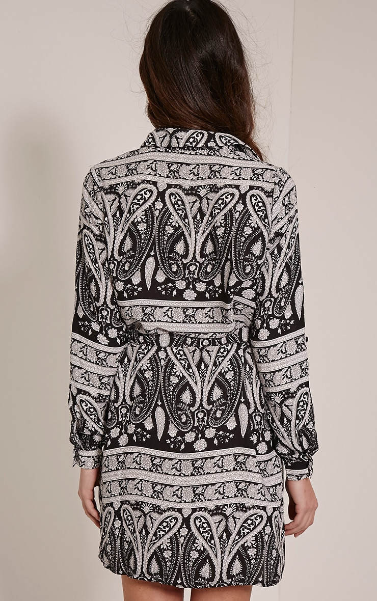 Hetty Monochrome Paisley Print Shirt Dress 2
