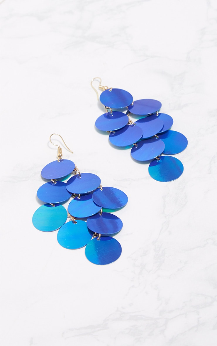 Blue Sequin Drop Earrings 3