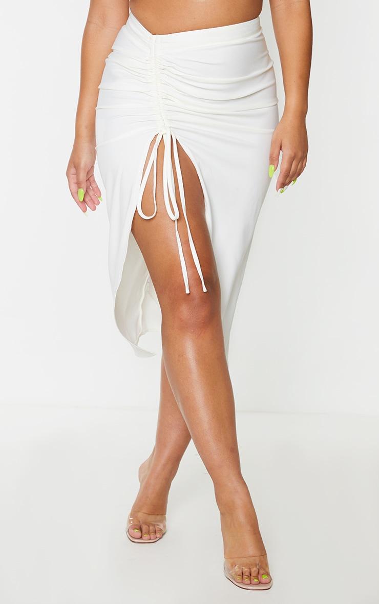 Cream Woven Ruched Detail Midi Skirt 2