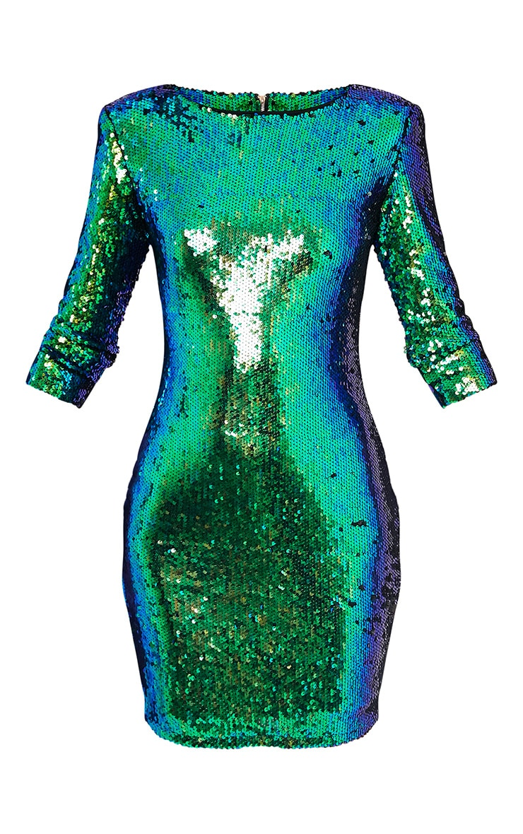 Tiya Green Sequin Bodycon Dress 4
