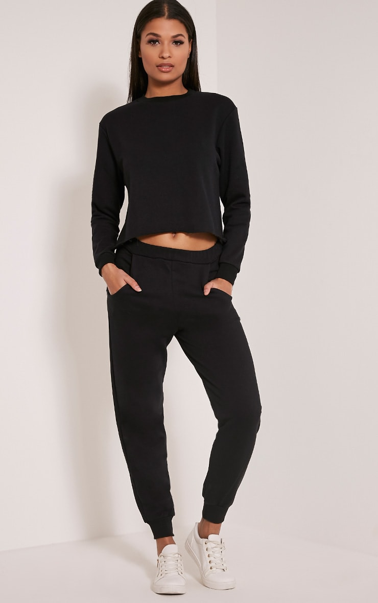 Ellia Black Basic Joggers 1