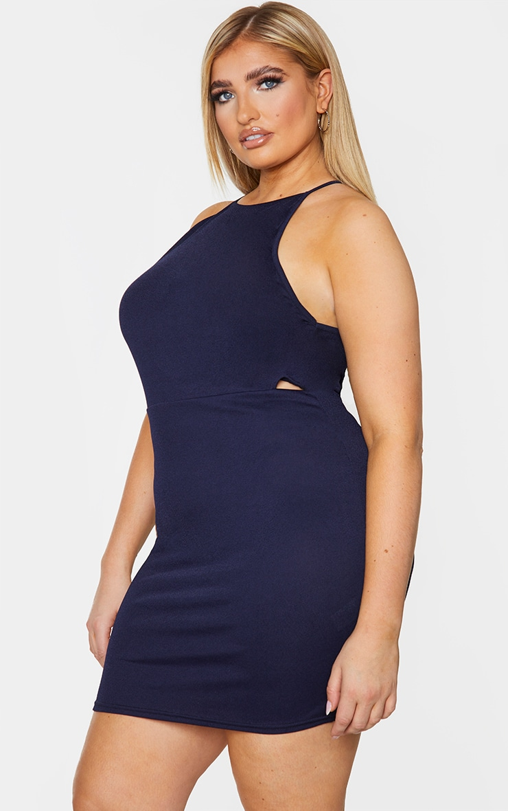 Plus Navy High Neck Cut Out Bodycon Dress 1