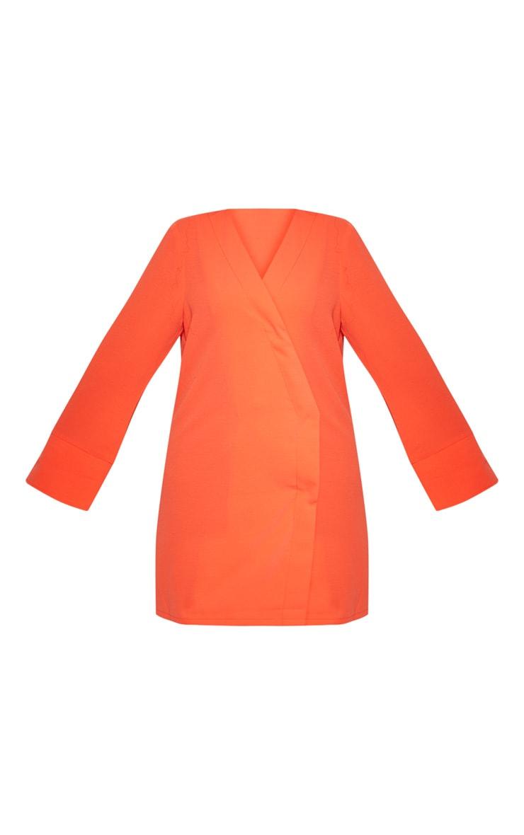 Plus Orange Plunge Flare Sleeve Blazer Dress 3