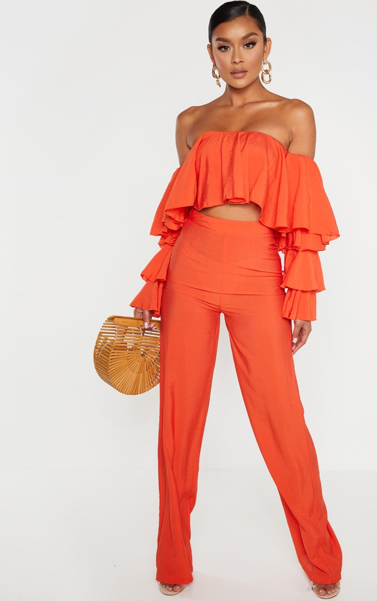Bright Orange Woven High Waisted Wide Leg Pants 6
