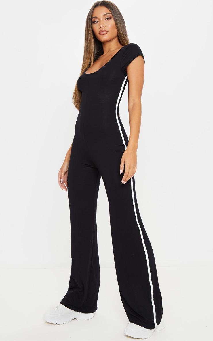 Black Cap Sleeve Sports Stripe Wide Leg Jumpsuit 1