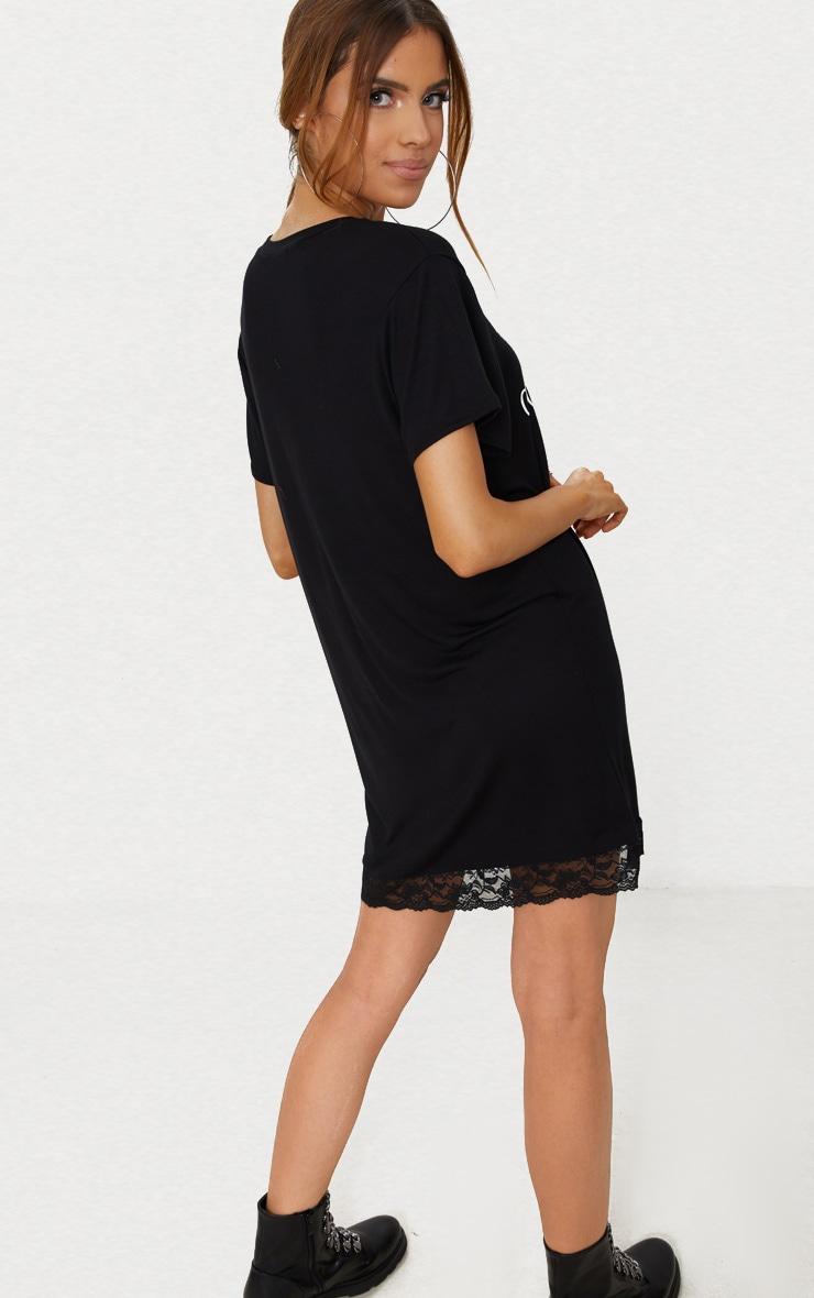 Black Bad Choices Lace Trim T-Shirt Dress  2
