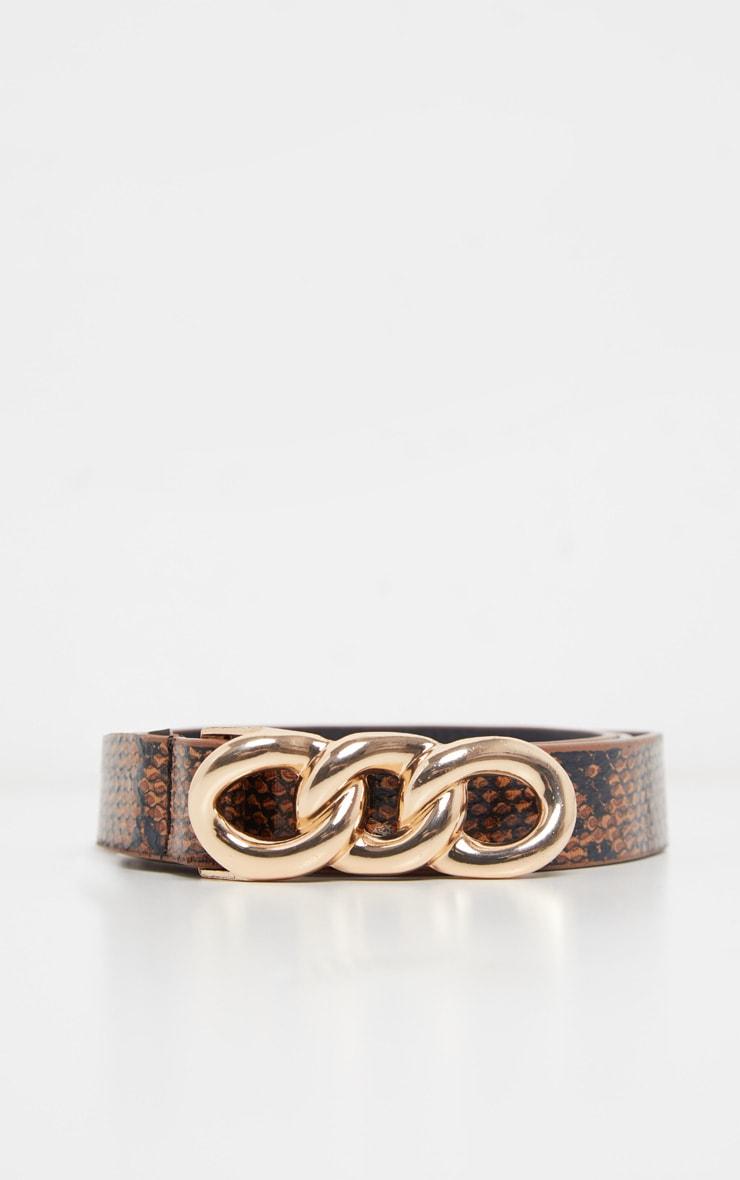 Tan Snake Link Buckle Belt 2