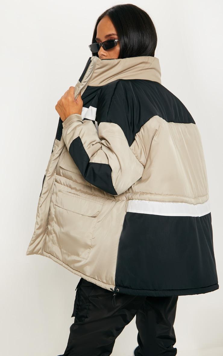 Stone Padded Colour Block Jacket  2