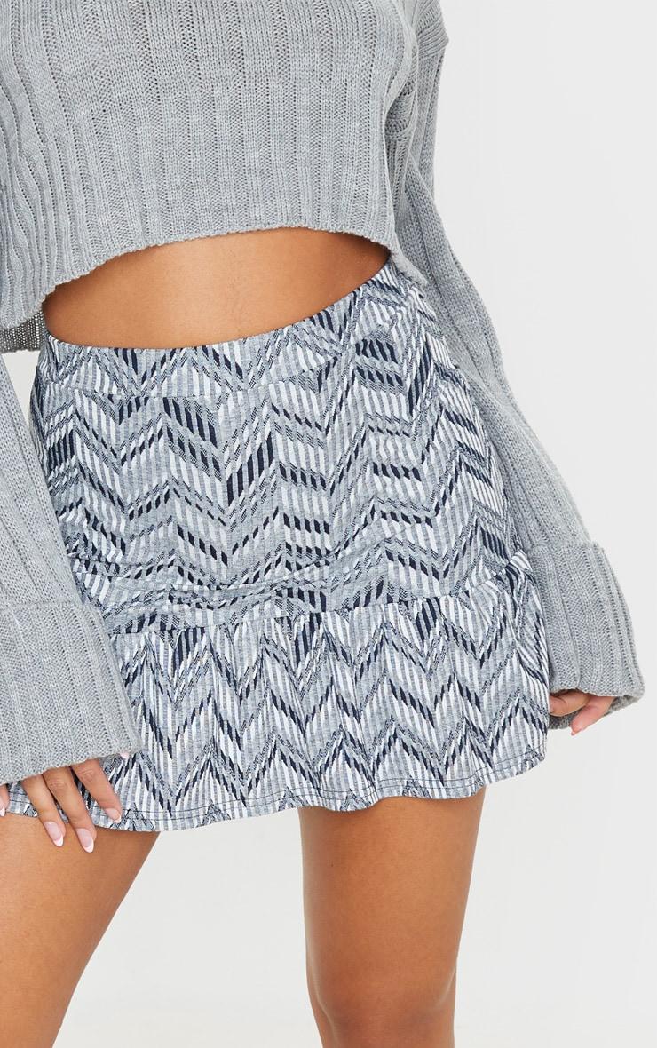 Black Jacquard Flippy Hem Mini Skirt 7
