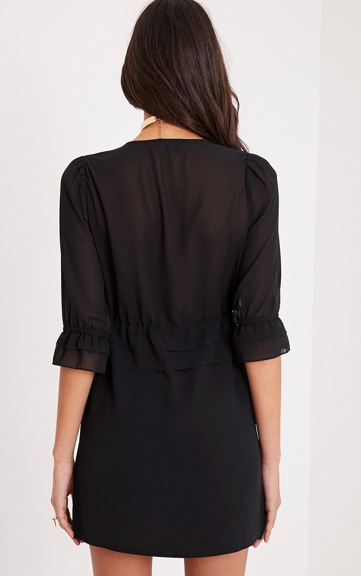 Fernella Black Frill Detail Shift Dress 2