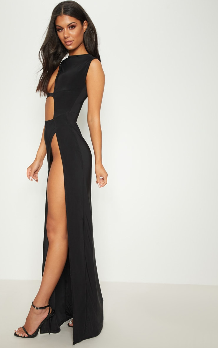 Black Plunge Cut Out Extreme Split Maxi Dress 4