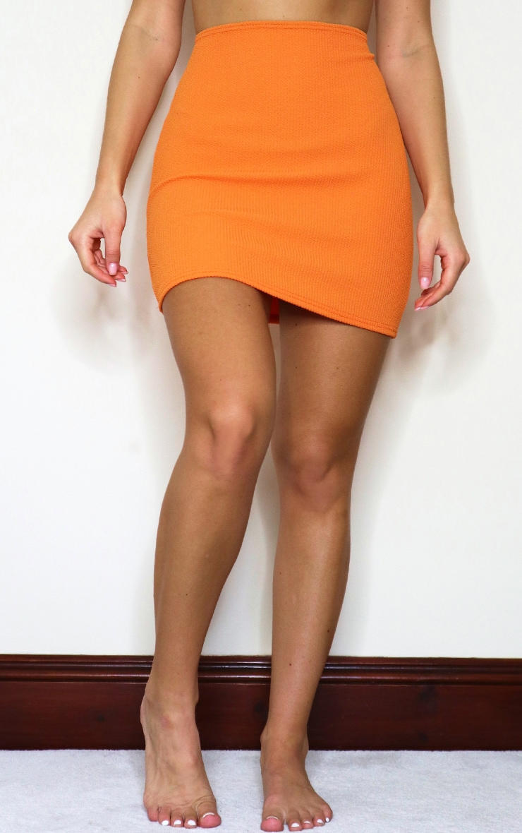 Orange Crinkle Beach Mini Skirt 2