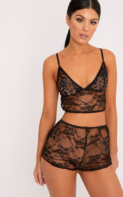 Luma Black All Over Lace Crop Top   Short Set 8f4ca5375