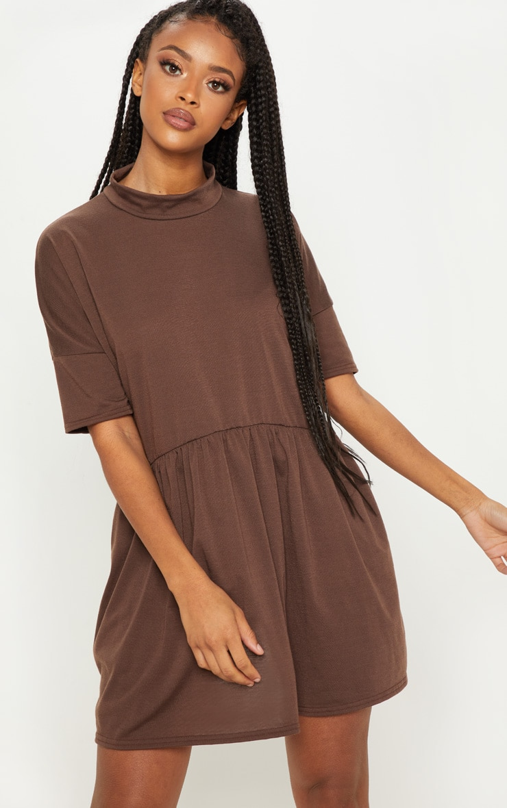 Chocolate High Neck Smock Dress 1