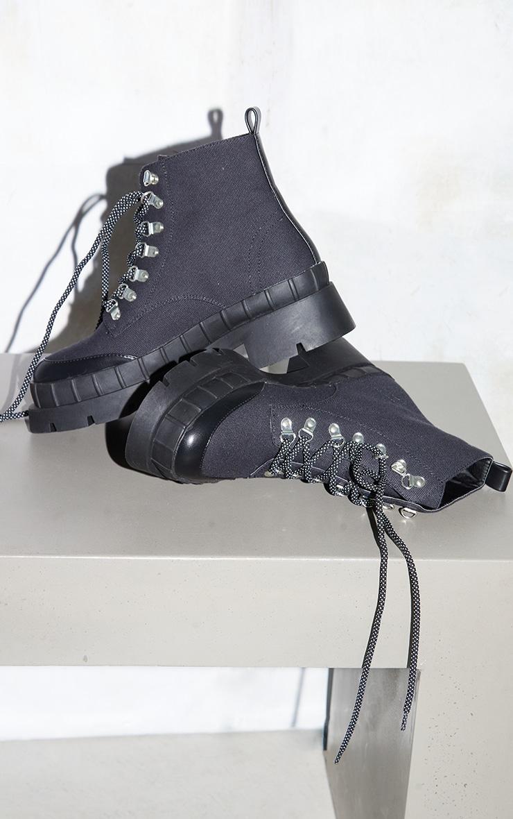 Black Canvas Round Toe Cap Hiker Lace Ankle Boots 4