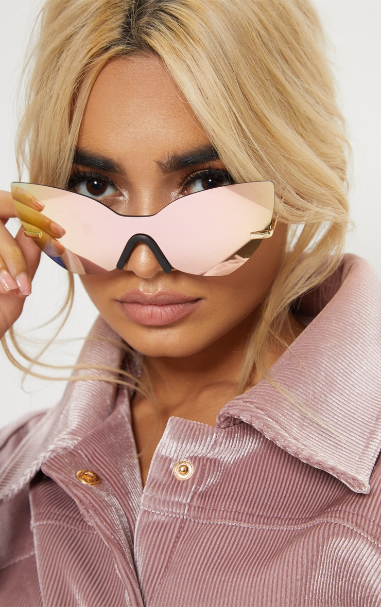 Pink Frameless Cat eye Sunglasses