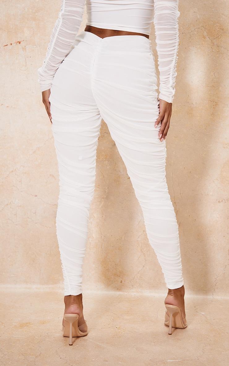 White Mesh Layered Ruched Leggings 3