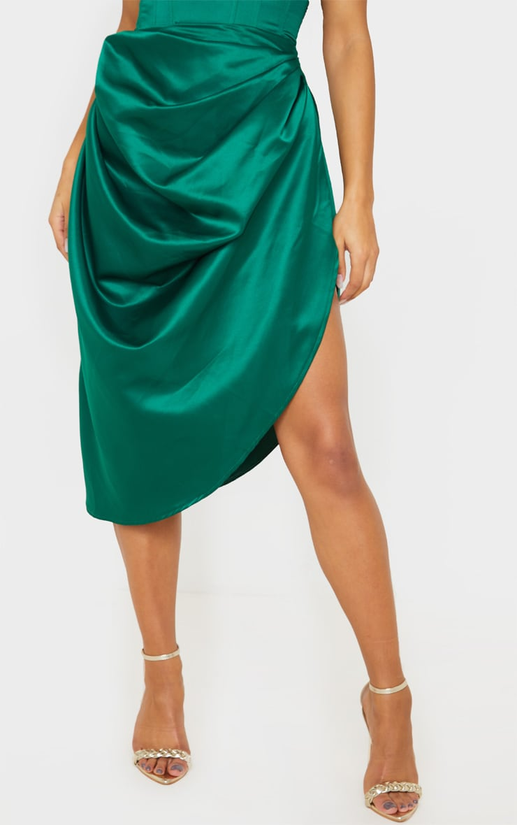 Emerald Green Satin Woven Ruched Side Midi Skirt 2