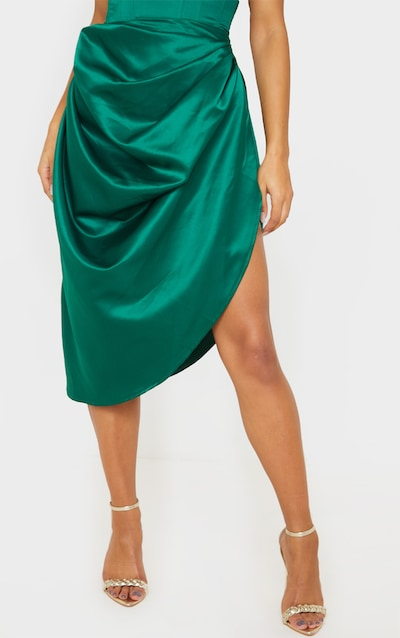 Emerald Green Satin Woven Ruched Side Midi Skirt