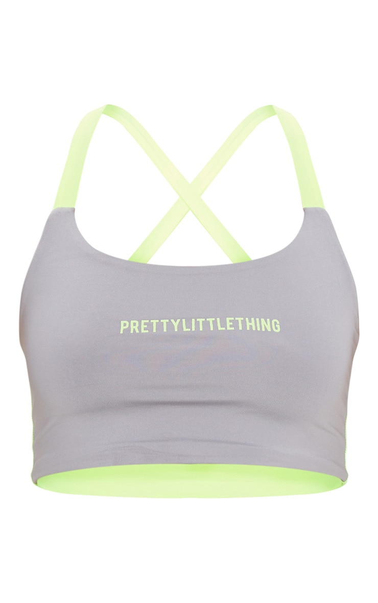 PRETTYLITTLETHING Grey Contrast Sports Crop Top 3