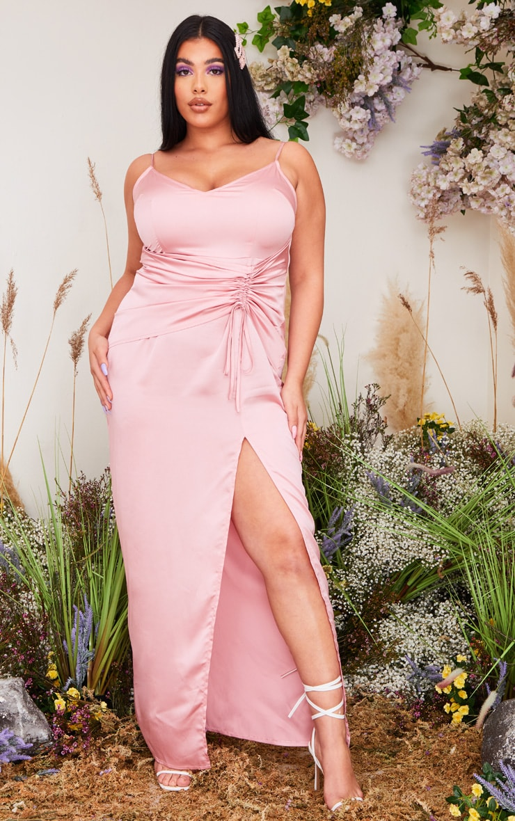 Plus Dusty Pink Satin Corset Waist Maxi Dress