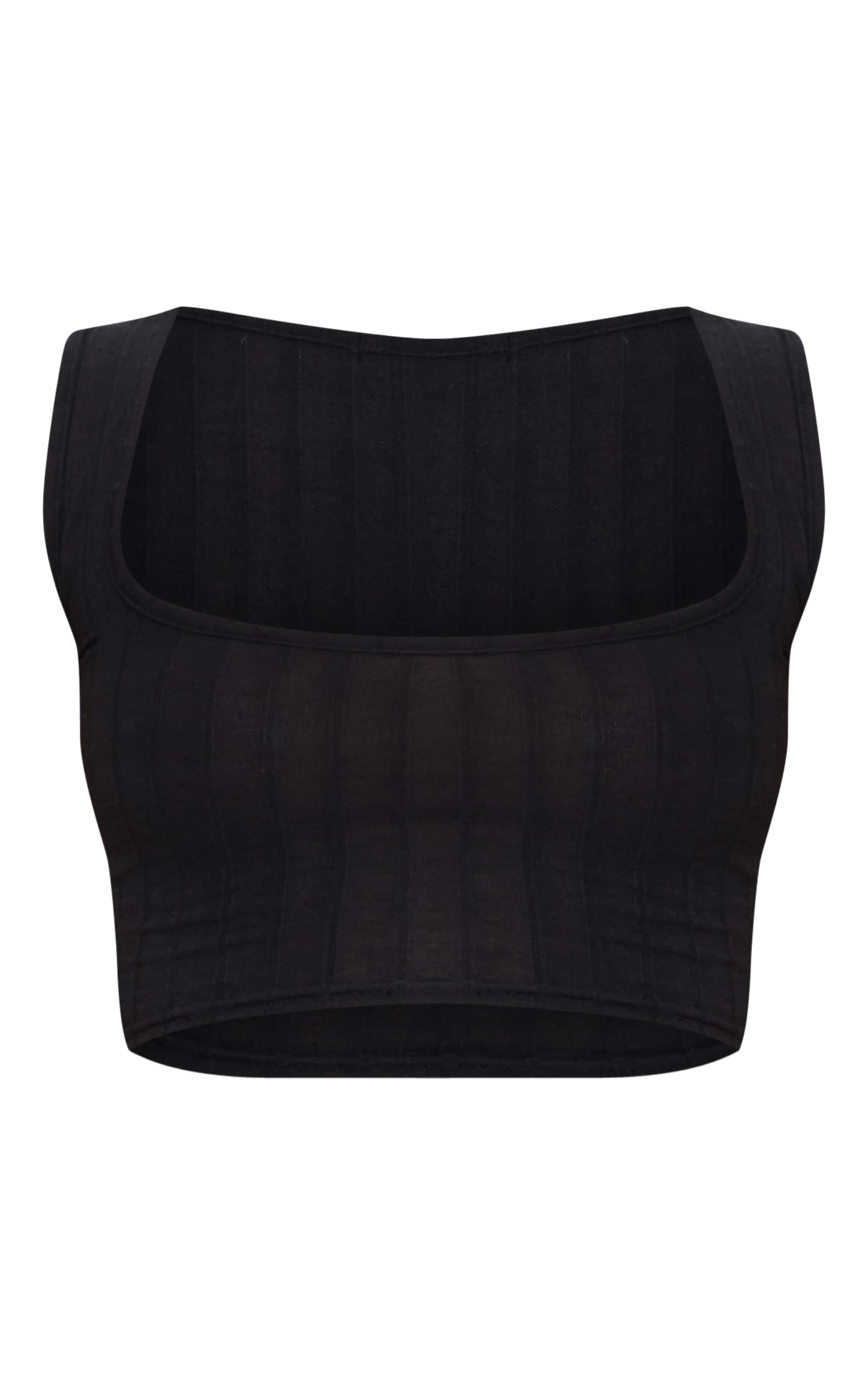 Petite Black Ribbed Square Neck Crop Top 3