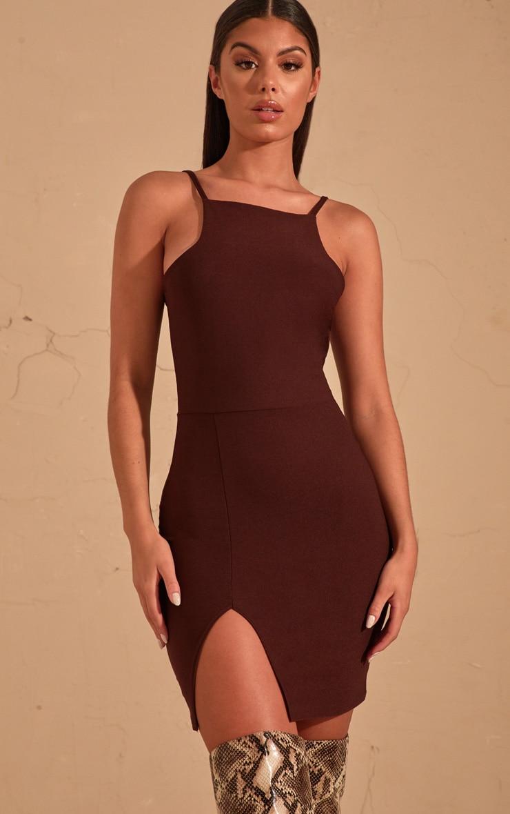 Chocolate Brown 90's Neck Split Front Bodycon Dress