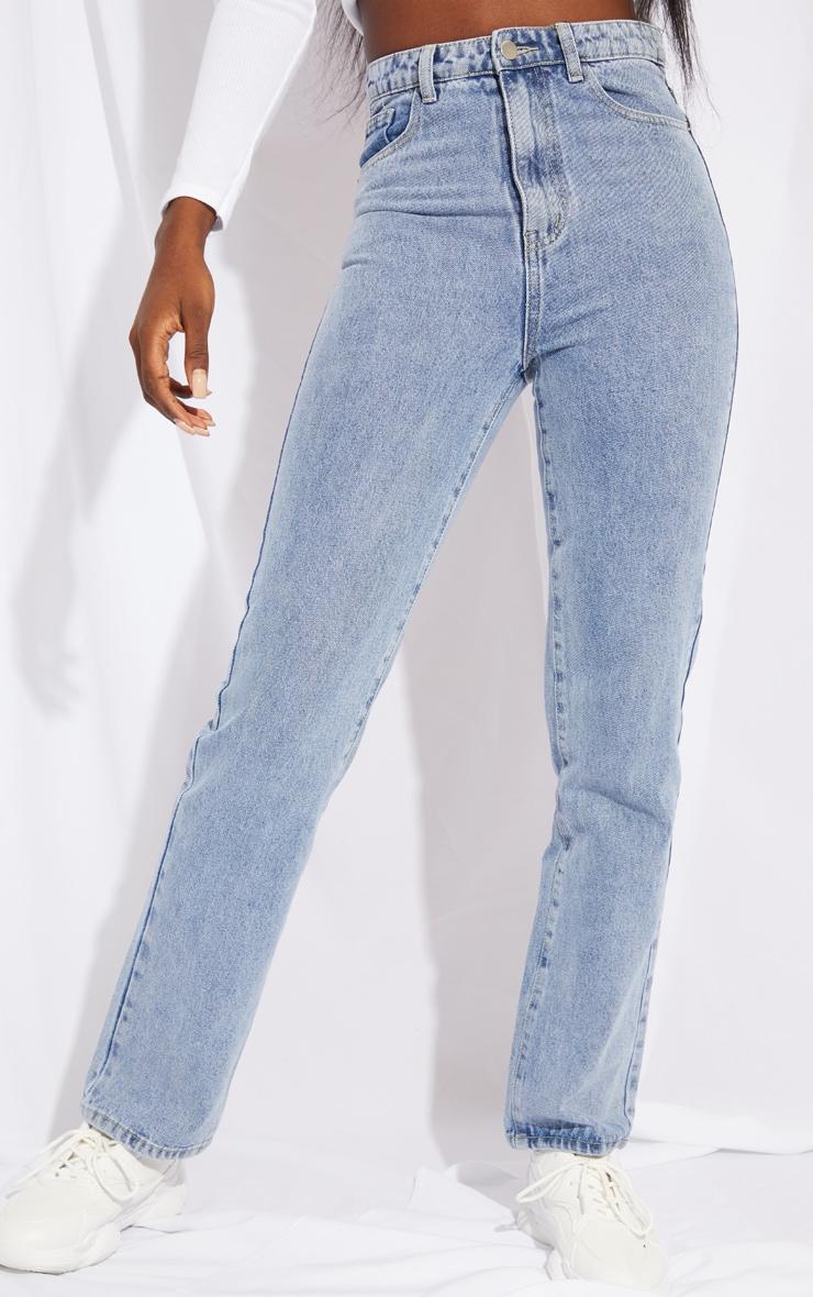 PRETTYLITTLETHING Tall Light Blue Straight Leg Jeans 2